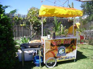 carro perritos con toldo amarillo